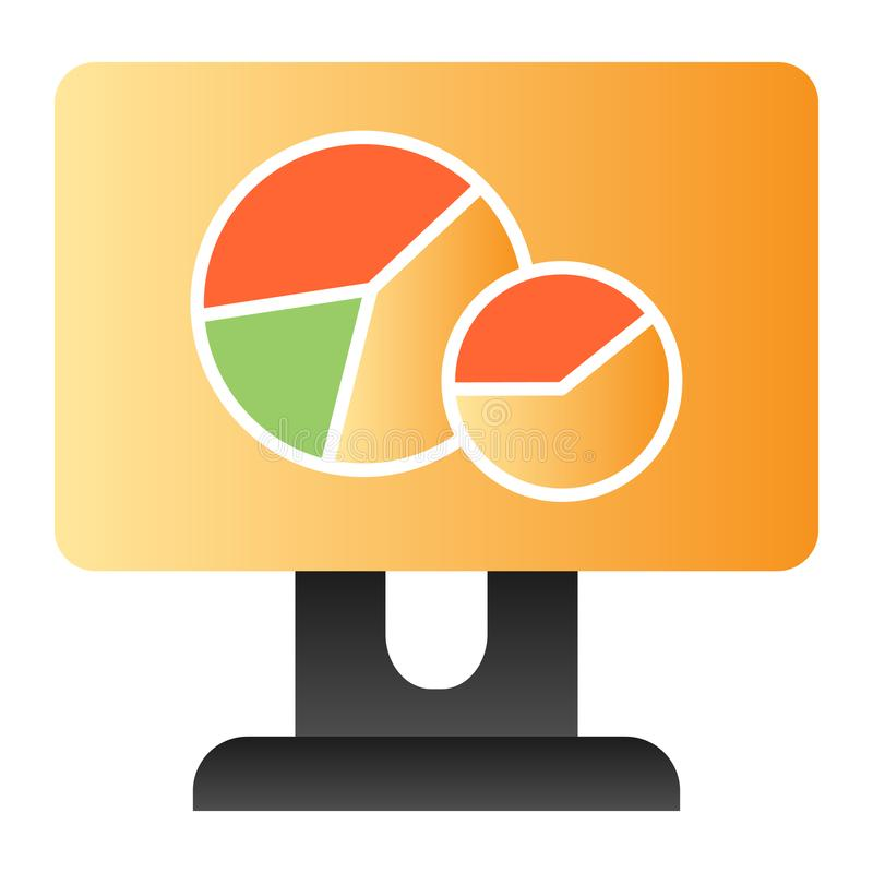 Circle graph on monitor flat icon. Chart on computer screen color icons in trendy flat style. Diagram gradient style royalty free illustration