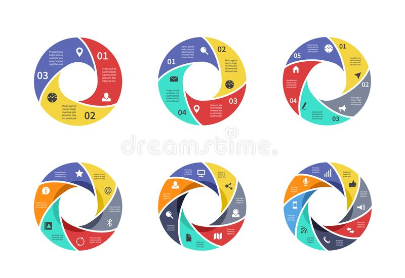 Circle graph, pie strategy diagrams, circular arrows charts with options, parts, steps, process sectors. Business vector stock illustration