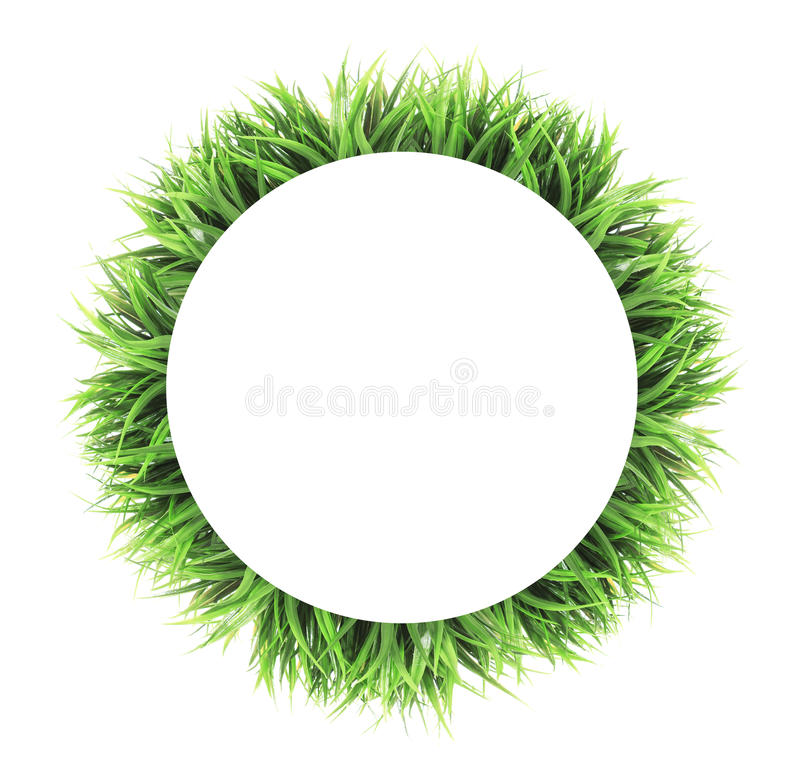 Circle grass frame isolated on white background stock photo