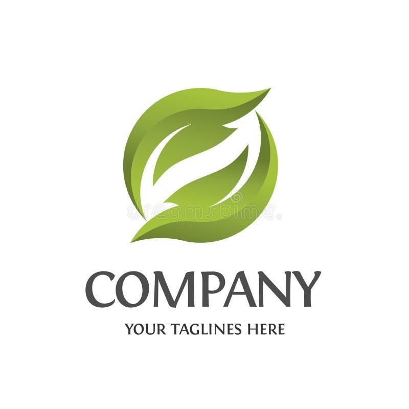 Circle green leaf ecology logo. Circle green leaf ecology nature element logo vector stock illustration