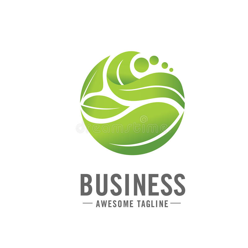 Circle green leaf logo stock illustration