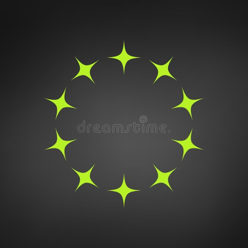 Circle green Star Border Logo Template, vector illustration isolated on black background vector illustration