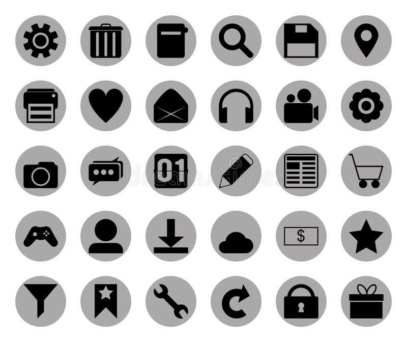 Circle grey icon set stock images