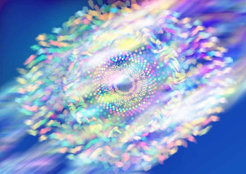 Circle grid wave.Abstract colorful particle grid with bokeh royalty free stock image