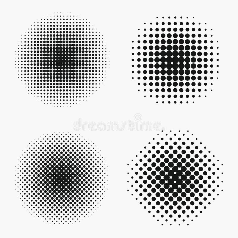 Circle halftone effects set. Monochrome dots semitone stock illustration