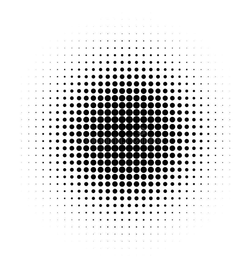 Halftone black dots on white background. Circle halftone pattern / texture. Monochrome halftone dots.Halftone dots in circle. Decreasing dots on a white vector illustration
