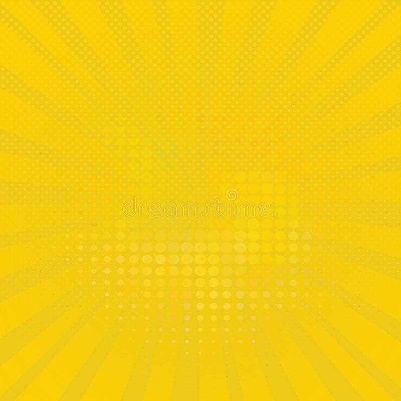 Abstract yellow halftone dots background in pop art style. vector illustration