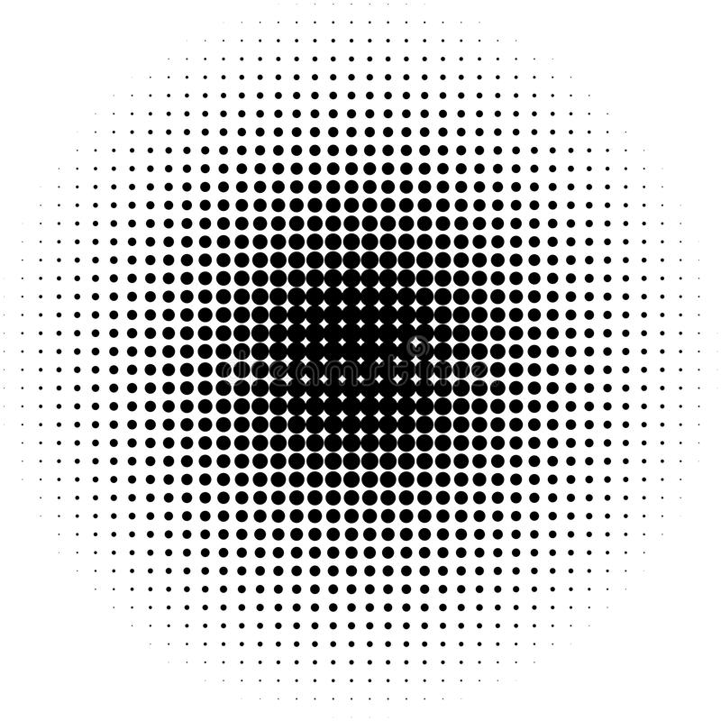 Circle halftone pattern / texture. Monochrome halftone dots. royalty free illustration