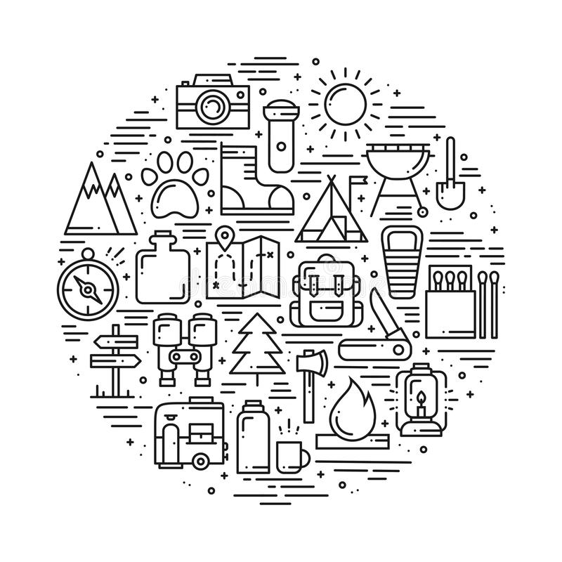 Circle with Hiking and Camping Line Symbols in Line Style. Outdoor Camp Adventure Concept Theme. Unique Hiking Round stock illustration