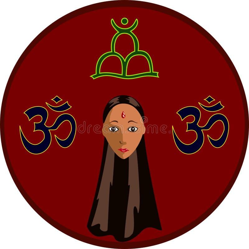 Circle with Hindu girl stock photo