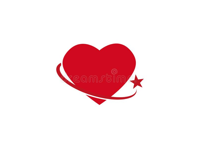 Circle holding heart with a star for logo. Esign illustration, valentine day icon red symbol royalty free illustration