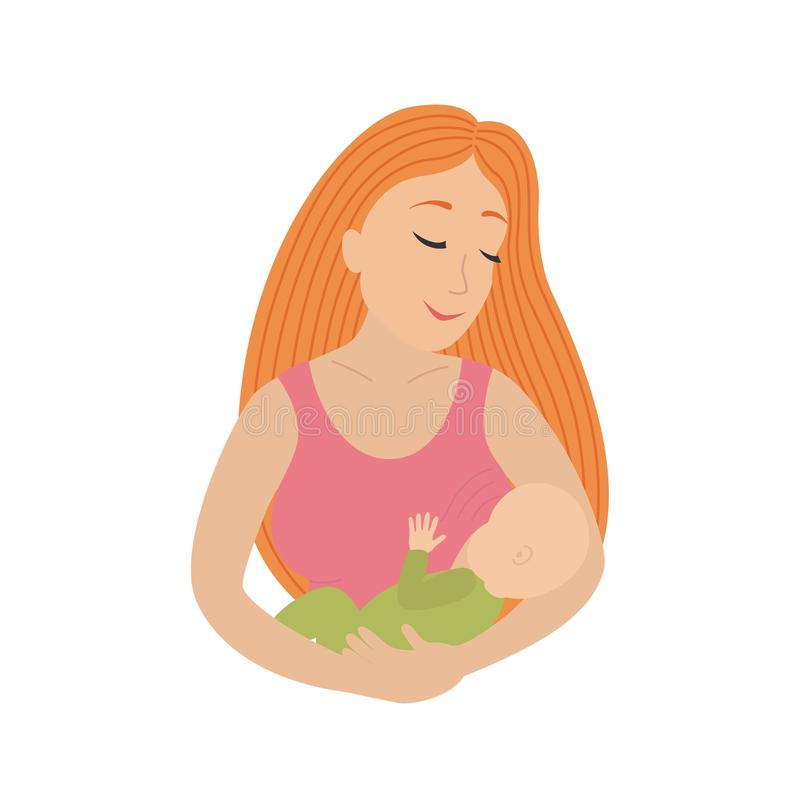 Circle icon depicting mother breastfeeding her young child. Breastfeed. Vector illustration isolated on white background royalty free illustration