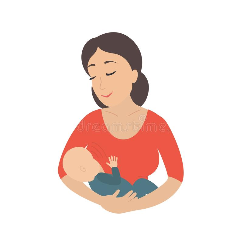 Circle icon depicting mother breastfeeding her young child. Breastfeed. Vector illustration isolated on white background vector illustration