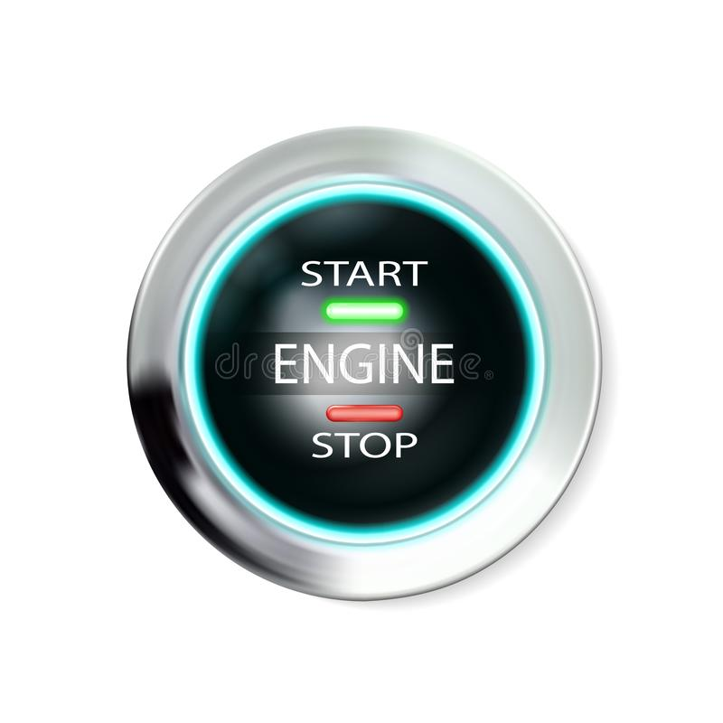 Circle icon glossy realistic chrome black button with inscriptions engine start, stop. Metal, silvery case with neon lights, vector illustration