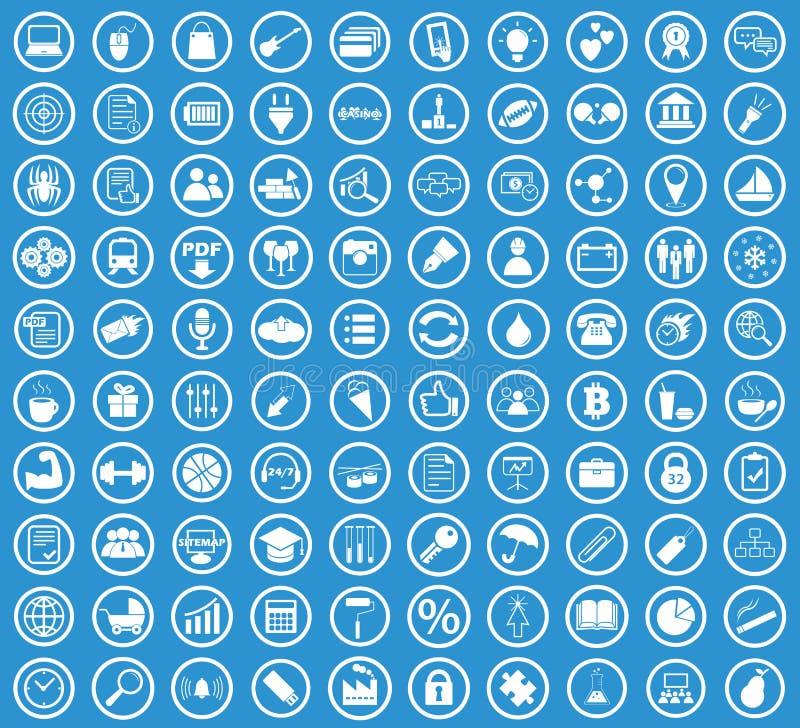 Circle icon set, blue. Circle icon set, simple white image on blue background vector illustration
