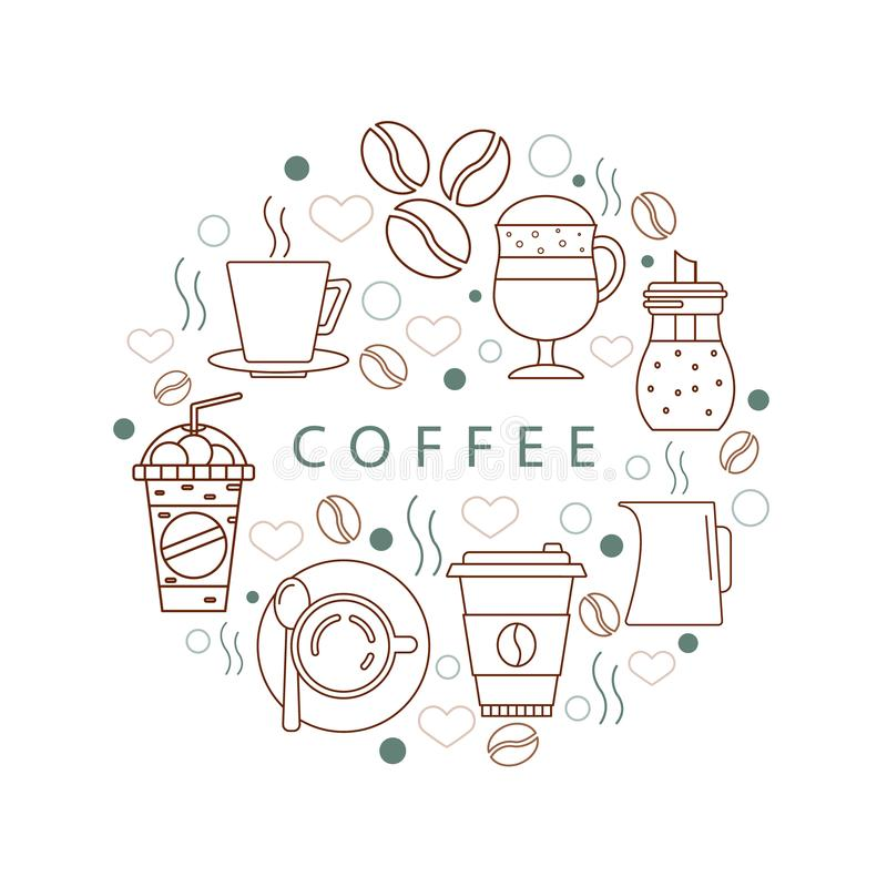 Circle of icons with `Coffee`. vector illustration