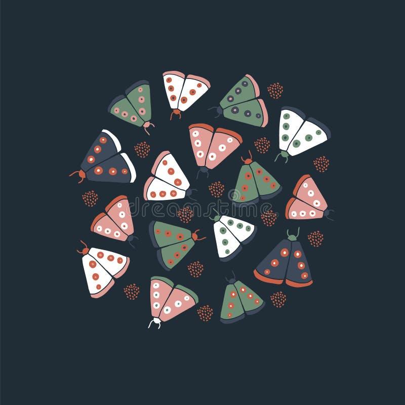 Circle illustration - decorative butterflies moth stock photos