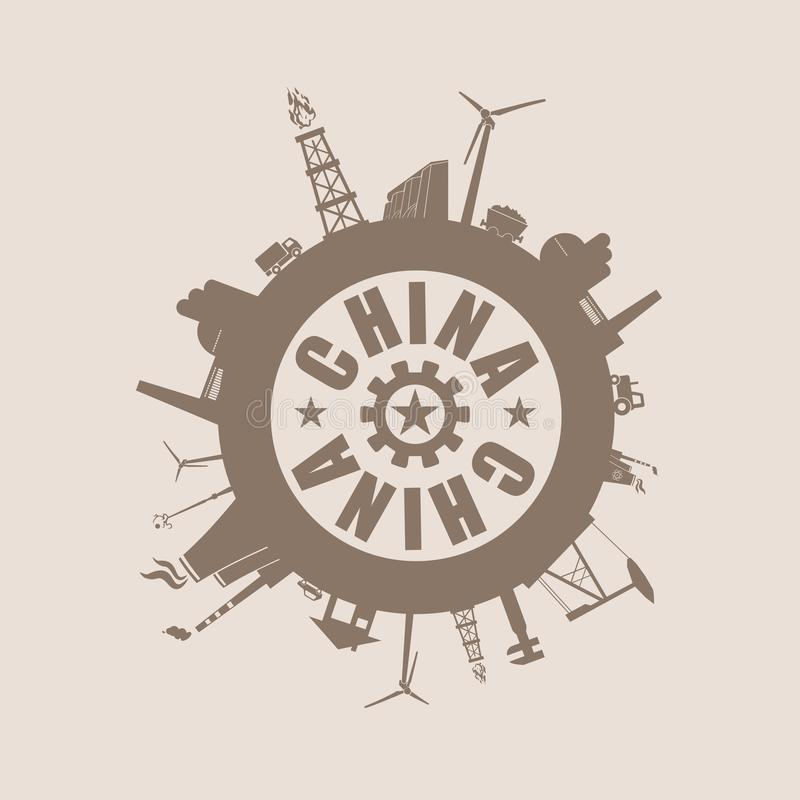 Circle with industry relative silhouettes. China text stock illustration