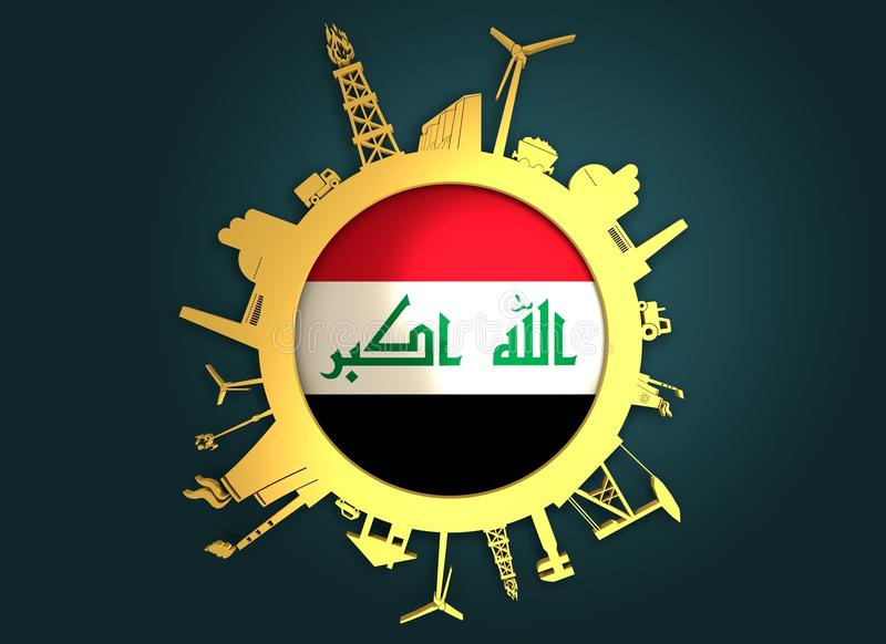 Circle with industry relative silhouettes. Iraq flag. Circle with industry relative silhouettes. Objects located around the circle. Industrial design background royalty free stock image
