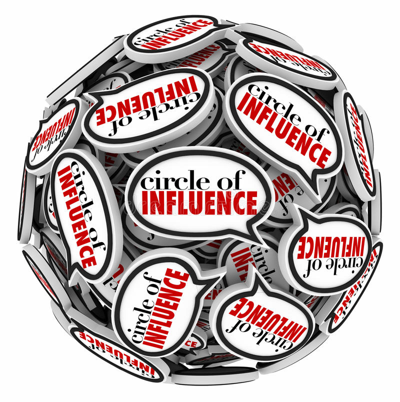 Circle of Influence Speech Bubble Sphere Communicating Network. Circle of Influence words in speech bubbles in a sphere to illustrate communication and messages royalty free illustration