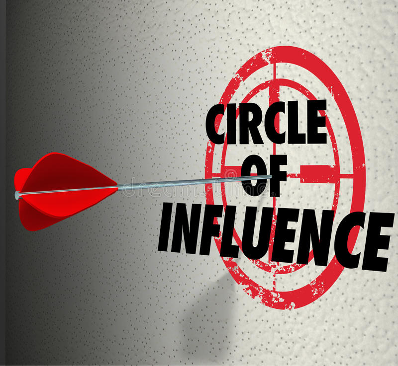 Circle of Influence Target Words Spreading Message Contacts Friends. Circle of Influence words on a target with arrow hitting it to illustrate communicating a royalty free illustration