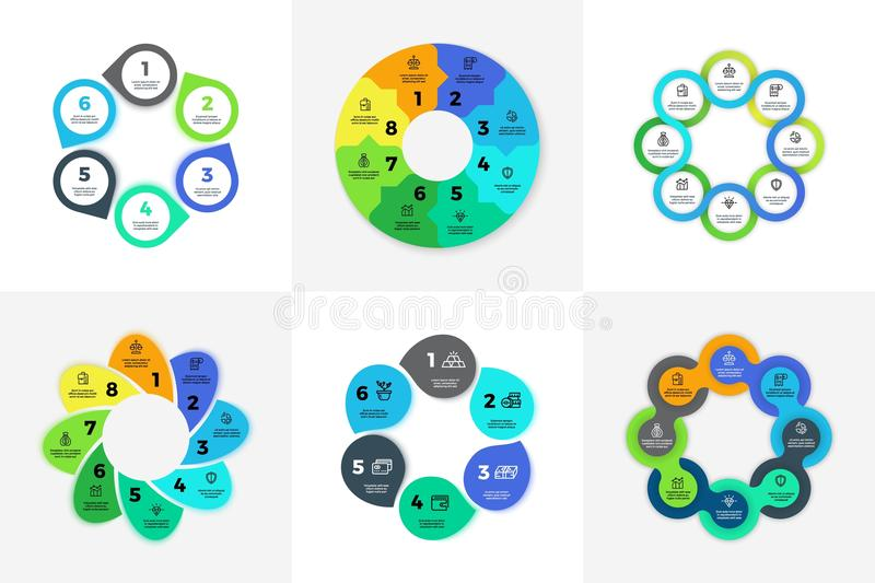 Circle infographic, chart, diagram, process workflow vector template. Business Pie chart with 3, 4, 5, 6, 7, 8 options stock illustration
