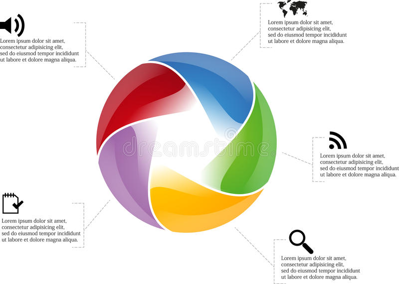 Circle infographic. With five pentagon motif around with multiple colors and simple icons around royalty free illustration