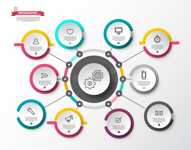 Circle Infographic Layout with Paper Labels. Infographics Template. Data Flow Concept. Circle Infographic Layout with Paper Labels. Vector Infographics Template royalty free illustration