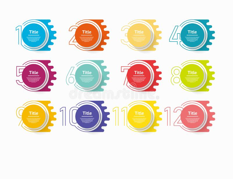 Circle infographic number options. Design vector template can be used for workflow layout, diagram, presentation, web design. Busi. Nes concept with 12 options royalty free illustration