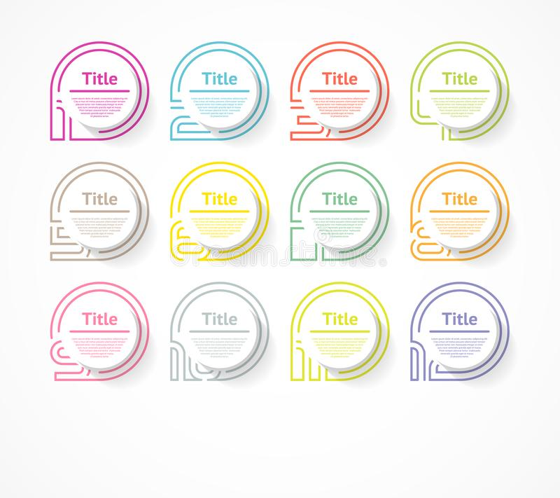 Circle infographic number options. Design vector template can be used for workflow layout, diagram, presentation, web design. Busi royalty free illustration