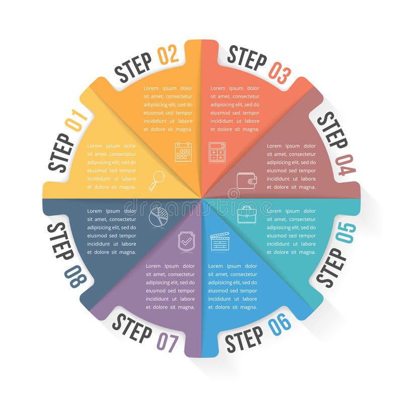 Circle Infographic Template with Eight Elements. Steps or options, workflow or process diagram vector illustration