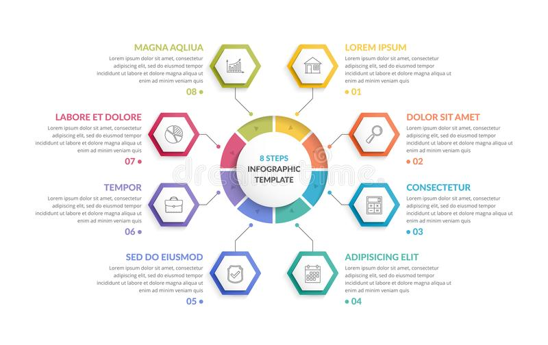 Circle Infographics with Hexagons. Circle infographic template with eight hexagons, can be used as steps or options, process chart, creative business vector illustration