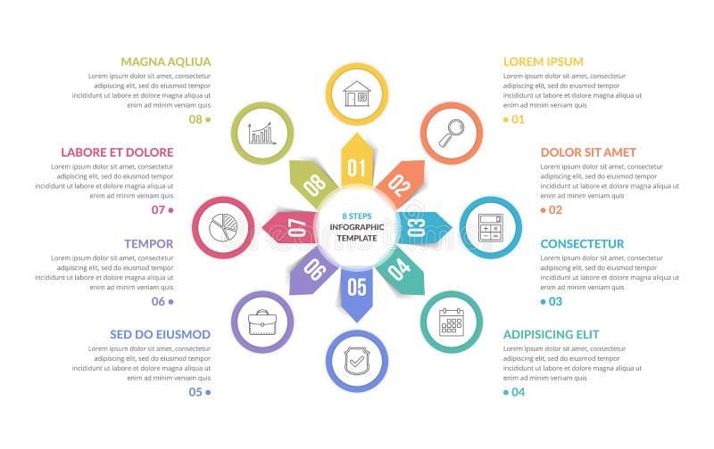 Circle Infographics - Eight Elements stock illustration