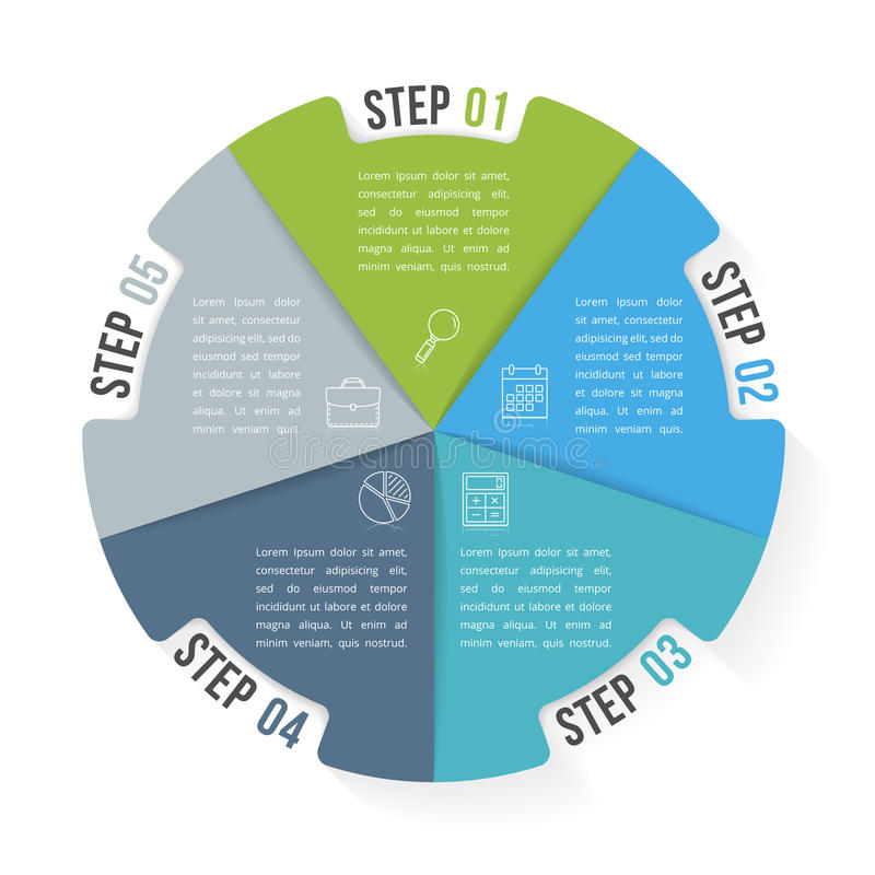 Circle Infographic Template with Five Elements. Steps or options, workflow or process diagram stock illustration