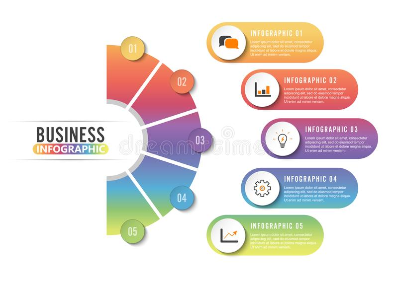 Circle infographic template five option, process or step for business presentation stock photography