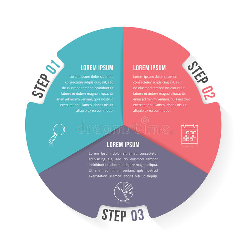 Circle Infographic Template with Four Elements. Circle infographic template with three elements, steps or options, workflow or process diagram royalty free illustration