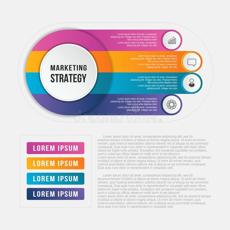 Circle infographic template with 4 options, design business element for annual report, workflow and presentation. stock illustration