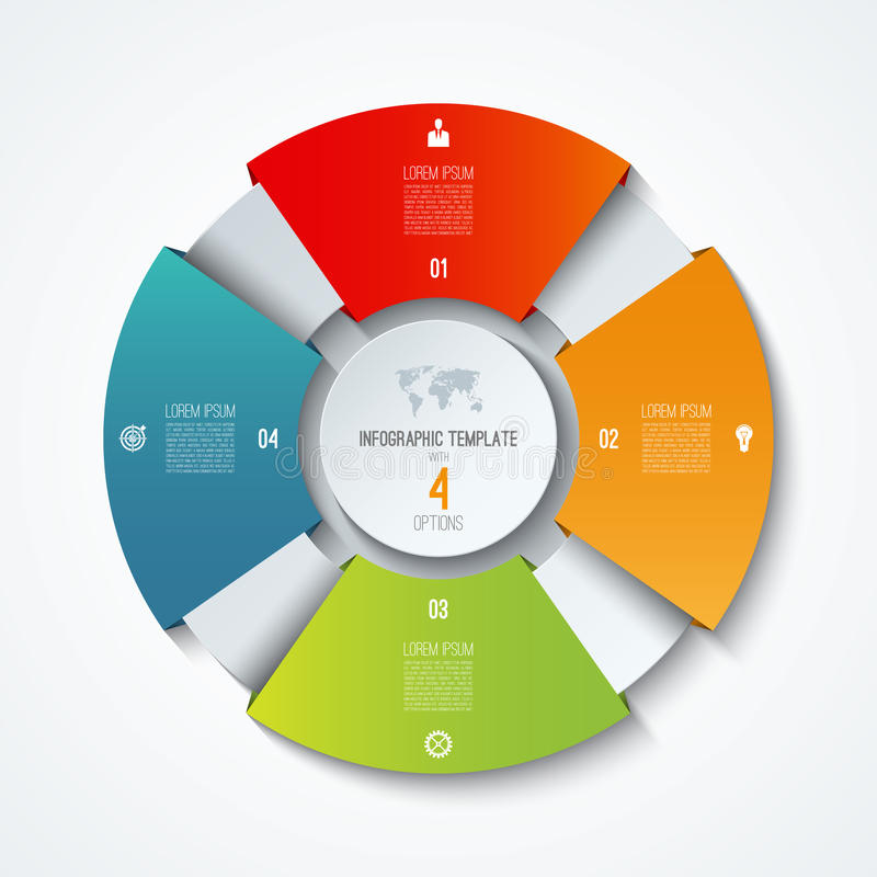 Circle infographic template. Process wheel. Vector pie chart. Business concept with 4 options royalty free illustration