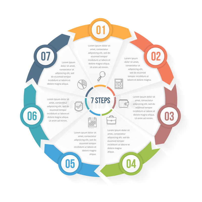 Circle Infographic Template with Seven Elements. Steps or options, workflow or process diagram, data vizualization vector illustration