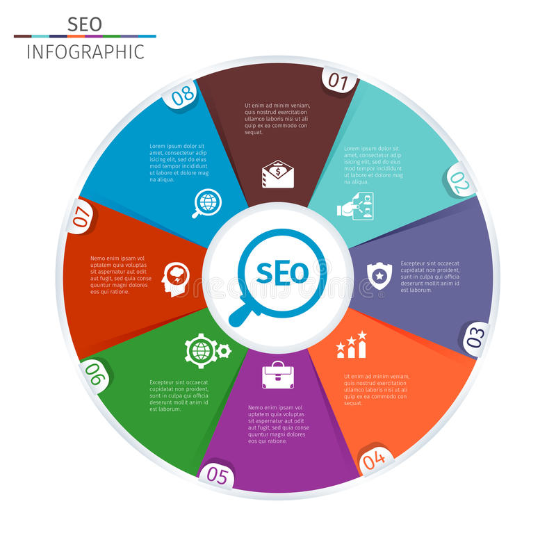 Circle infographic template. Circle Simple Infographic Template With SEO Icons royalty free illustration