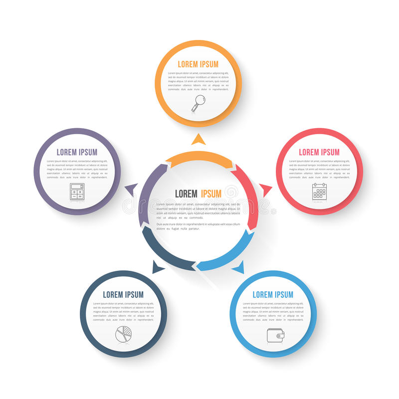Circle Infographic Template with Three Elements. Circle infographic template with five elements, steps or options, workflow or process diagram, data stock illustration