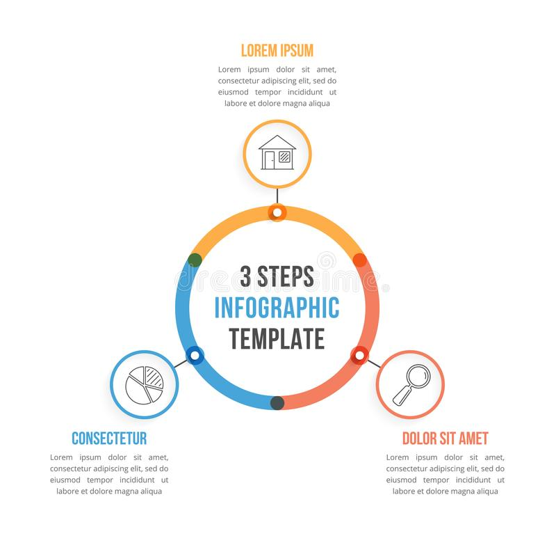 Circle Infographics. Circle infographic template with three elements, steps or options, workflow or process diagram vector illustration