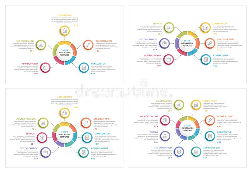 Circle Infographics. Templates with five, six, seven and eight elements, process charts, creative business infographics vector illustration