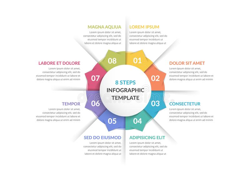 Circle Infographics - Eight Elements. Circle infographic template with eight steps or options, process chart vector illustration