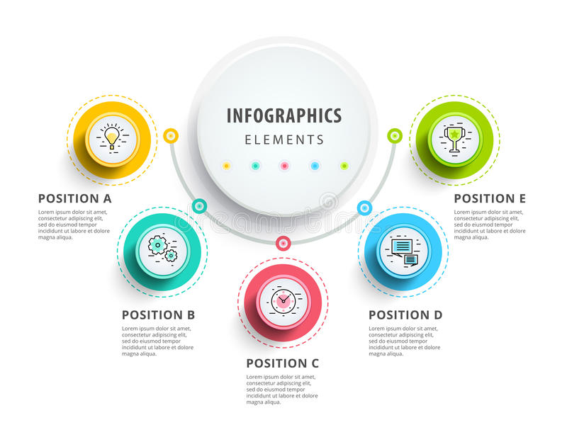 Circle infographics elements design. Abstract business workflow. Presentation with linear icons. 5 step on timeline or job options in 3D style. Best for