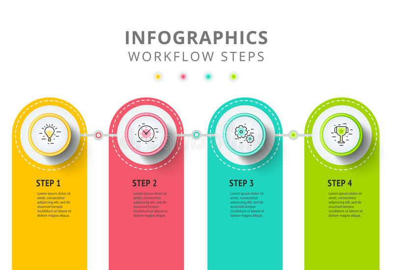 Circle infographics elements design. Abstract business workflow. Presentation with linear icons. Steps on timeline or job options in 3D style. Best for royalty free illustration