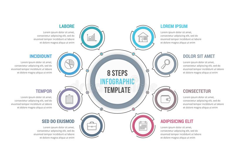 Circle Infographics with 8 Elements. 8 Steps - circle infographic template, workflow or process diagram royalty free illustration