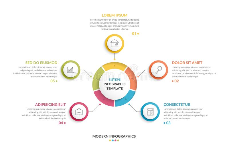 Circle Infographics - Five Elements. Circle infographic template with five steps or options, process chart, creative business infographics stock illustration