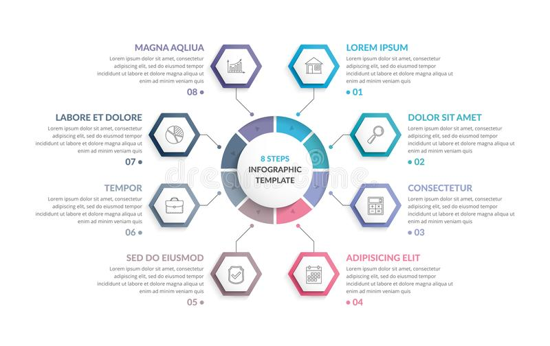 Circle Infographics with Hexagons stock illustration