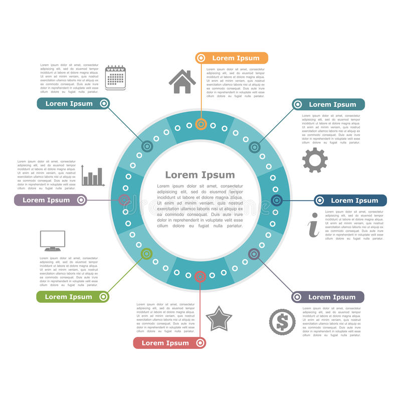 Circle Infographics. Modern circle infographics with icons and text, round diagram template royalty free illustration